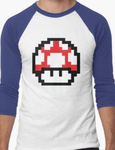 8-Bit Mario Nintendo Mushroom Red Men's Baseball ¾ T-Shirt