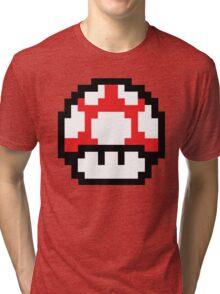 8-Bit Mario Nintendo Mushroom Red Tri-blend T-Shirt
