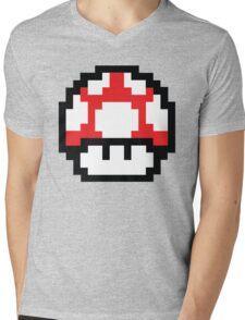 8-Bit Mario Nintendo Mushroom Red Mens V-Neck T-Shirt