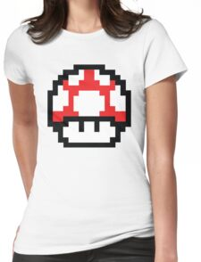 8-Bit Mario Nintendo Mushroom Red Womens Fitted T-Shirt