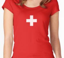 Swiss Flag - I Love Switzerland - White Cross T-Shirt Women's Fitted Scoop T-Shirt