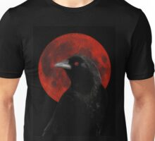 Crow And Red Moon Glow Unisex T-Shirt