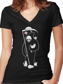 Death Is A Cat Person Women's Fitted V-Neck T-Shirt