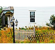House with Fence and Lamp Photographic Print