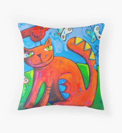 Kitty Loves Throw Pillow