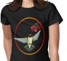 Red Throated Hummingbird Oval  Womens Fitted T-Shirt