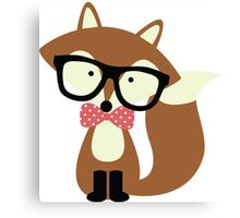 Red Bow Tie Hipster Fox Canvas Print