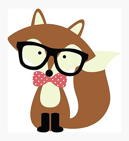 Red Bow Tie Hipster Fox Photographic Print