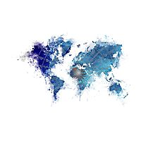 World Map Wind Rose splash Photographic Print