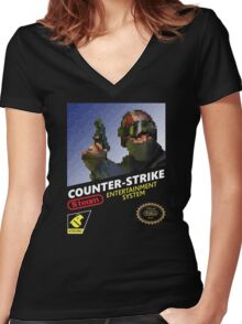 CS:GO Retro T-Shirt Women's Fitted V-Neck T-Shirt