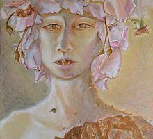 Rosewoman - Portrait In Crayon With Thorns For Teeth by Nancy Mauerman