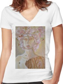Rosewoman - Portrait In Crayon With Thorns For Teeth Women's Fitted V-Neck T-Shirt
