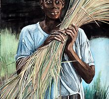 Haitian Farmer Gathering Rice Straw by clotheslineart