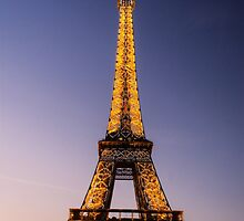 Eiffel Tower and sunset (2) by Mathieu Longvert