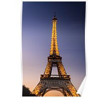 Eiffel Tower and sunset (2) Poster