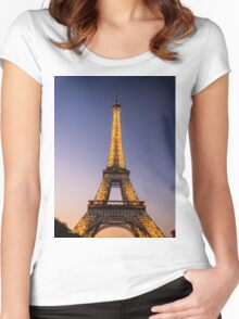 Eiffel Tower and sunset (2) Women's Fitted Scoop T-Shirt