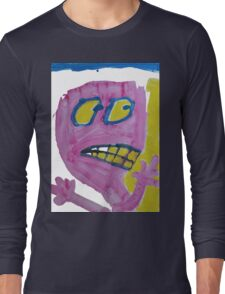 Toby - Pink Graphic Face Long Sleeve T-Shirt
