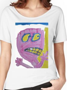Toby - Pink Graphic Face Women's Relaxed Fit T-Shirt