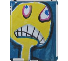 Troy - Graphic Yellow Face With Blue Background iPad Case/Skin