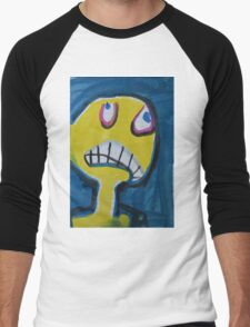 Troy - Graphic Yellow Face With Blue Background Men's Baseball ¾ T-Shirt