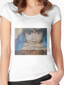 Pensive - A Portrait Of A Boy Women's Fitted Scoop T-Shirt