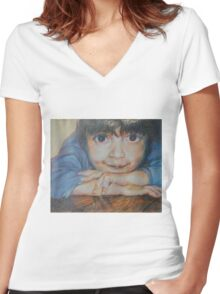 Pensive - A Portrait Of A Boy Women's Fitted V-Neck T-Shirt