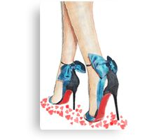 Blue Bow Louboutins Canvas Print