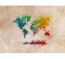 World Map splash colored Photographic Print