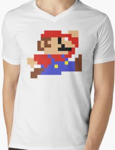 8-Bit Mario Nintendo Jumping Mens V-Neck T-Shirt