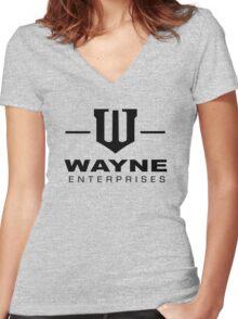 Wayne Enterprises-Black Women's Fitted V-Neck T-Shirt