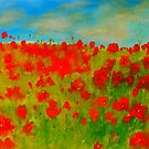 A field of poppies (oil on canvas 750 x 1000) by Margaret Morgan (Watkins)