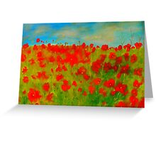 A field of poppies (oil on canvas 750 x 1000) Greeting Card