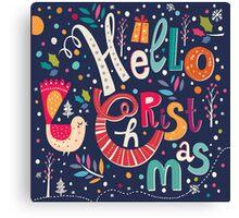 Colorful Retro Hello Christmas Text Design Canvas Print