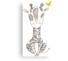 Grey Giraffe and Yellow Butterfly Canvas Print