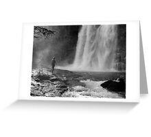 Becky and the waterfall, Glacier National Park Greeting Card