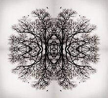 Winter Storm Tree Ink Blot by Jennifer Hardman
