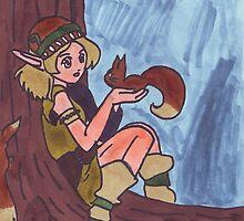 Wood Elf And Squirrel by Mythos57