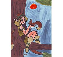 Wood Elf And Squirrel Photographic Print