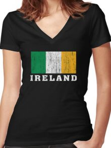 Ireland Flag Women's Fitted V-Neck T-Shirt