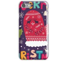 Colorful Retro Christmas Knit And Text Design iPhone Case/Skin