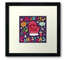 Colorful Retro Christmas Knit And Text Design Framed Print