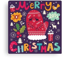 Colorful Retro Christmas Knit And Text Design Canvas Print