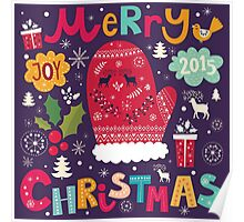 Colorful Retro Christmas Knit And Text Design Poster