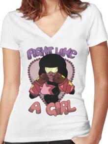 Fight Like A Girl (Crystal Gem) Women's Fitted V-Neck T-Shirt
