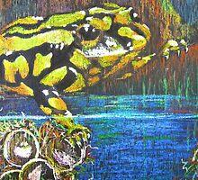 Australian Corroboree Frog in Pastel  by Heatherian
