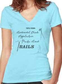 Triple Crown Of Hiking Women's Fitted V-Neck T-Shirt