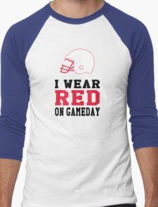 I Wear Red on Gameday Men's Baseball ¾ T-Shirt