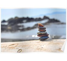 Rock Tower at The Beach Poster