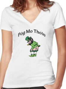 Pog Mo Thoin Women's Fitted V-Neck T-Shirt
