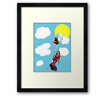 annecy in the sky with balloons Framed Print
